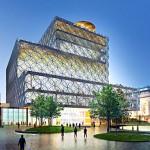 Bouw Library of Birmingham bereikt hoogste punt